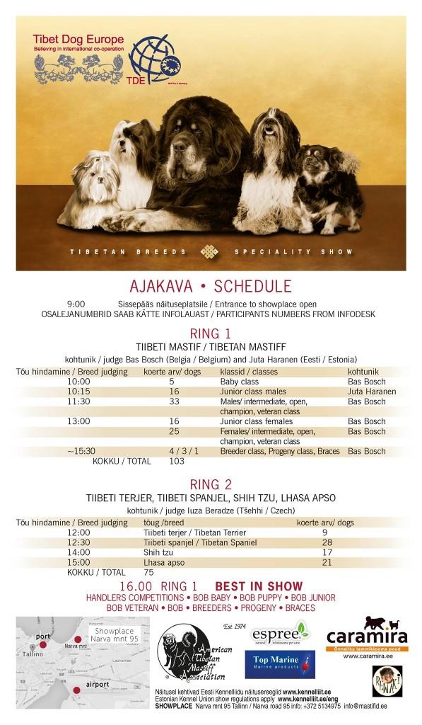 TIBET DOG EUROPE 2016 AJAKAVA / TIBET DOG EUROPE 2016 SCHEDULE